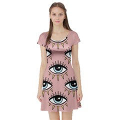Eyes Pattern Short Sleeve Skater Dress