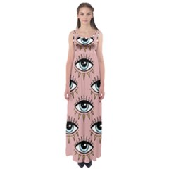 Eyes Pattern Empire Waist Maxi Dress