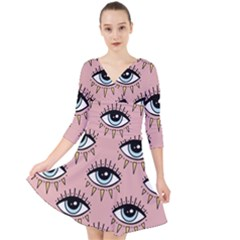 Eyes Pattern Quarter Sleeve Front Wrap Dress