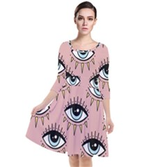 Eyes Pattern Quarter Sleeve Waist Band Dress