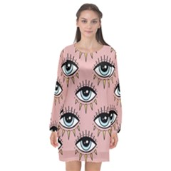 Eyes Pattern Long Sleeve Chiffon Shift Dress