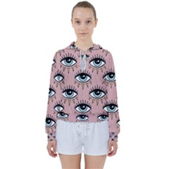 Eyes Pattern Women s Tie Up Sweat