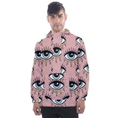 Eyes Pattern Men s Front Pocket Pullover Windbreaker