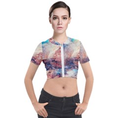 Abstract Painting Short Sleeve Cropped Jacket by goljakoff