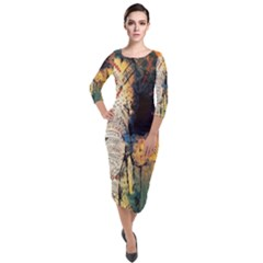 Indian Elephant Quarter Sleeve Midi Velour Bodycon Dress by goljakoff
