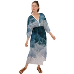 Blue Sea Ii Grecian Style  Maxi Dress