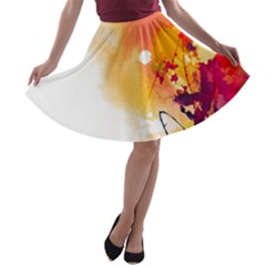 Autumn Paint A Line Skater Skirt