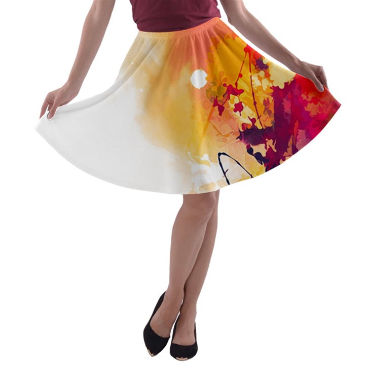 Autumn paint A-line Skater Skirt