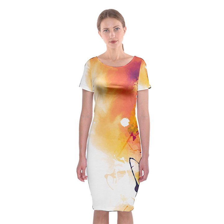 Autumn paint Classic Short Sleeve Midi Dress