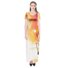 Autumn Paint Short Sleeve Maxi Dress