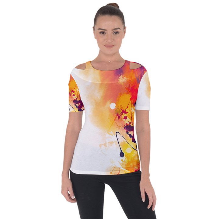 Autumn paint Shoulder Cut Out Short Sleeve Top