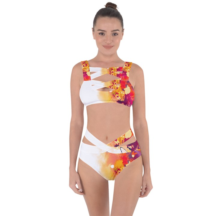 Autumn paint Bandaged Up Bikini Set