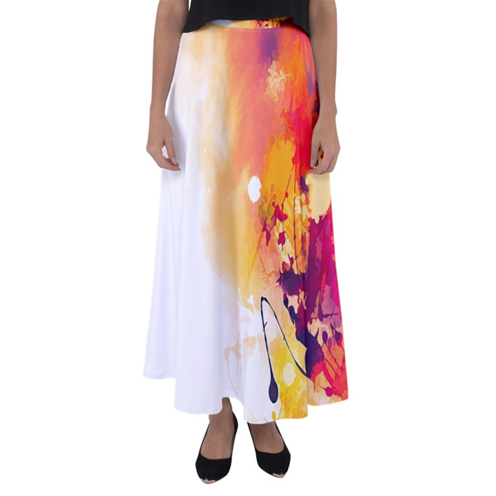 Autumn paint Flared Maxi Skirt