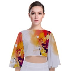 Autumn Paint Tie Back Butterfly Sleeve Chiffon Top