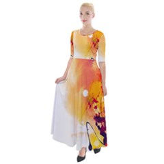 Autumn Paint Half Sleeves Maxi Dress