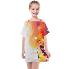 Autumn Paint Kids  One Piece Chiffon Dress