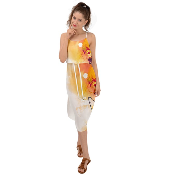 Autumn paint Waist Tie Cover Up Chiffon Dress