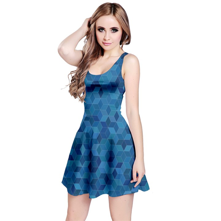 Blue Mosaic Reversible Sleeveless Dress
