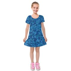 Blue Mosaic Kids  Short Sleeve Velvet Dress by retrotoomoderndesigns