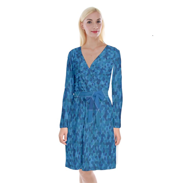 Blue Mosaic Long Sleeve Velvet Front Wrap Dress