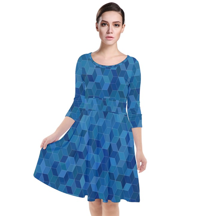 Blue Mosaic Quarter Sleeve Waist Band Dress