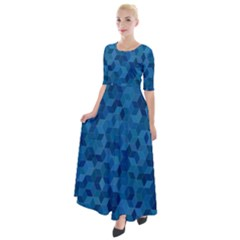 Blue Mosaic Half Sleeves Maxi Dress