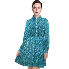 Turquoise Blue Ocean Long Sleeve Chiffon Shirt Dress