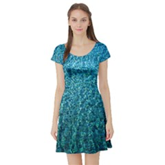 Turquoise Blue Ocean Short Sleeve Skater Dress