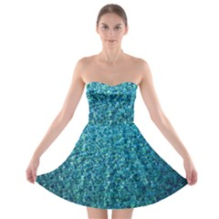 Turquoise Blue Ocean Strapless Bra Top Dress