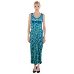 Turquoise Blue Ocean Fitted Maxi Dress