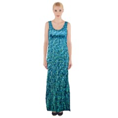 Turquoise Blue Ocean Thigh Split Maxi Dress