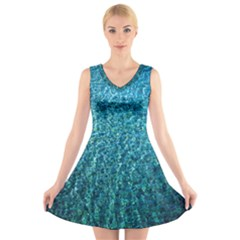 Turquoise Blue Ocean V-Neck Sleeveless Dress
