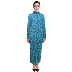 Turquoise Blue Ocean Turtleneck Maxi Dress