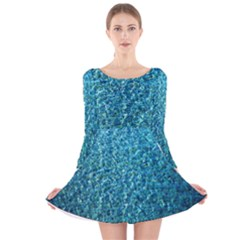 Turquoise Blue Ocean Long Sleeve Velvet Skater Dress