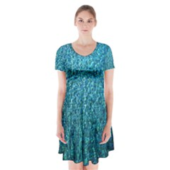 Turquoise Blue Ocean Short Sleeve V-neck Flare Dress by retrotoomoderndesigns