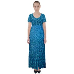 Turquoise Blue Ocean High Waist Short Sleeve Maxi Dress