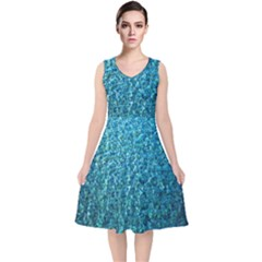 Turquoise Blue Ocean V-Neck Midi Sleeveless Dress