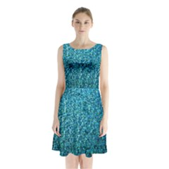 Turquoise Blue Ocean Sleeveless Waist Tie Chiffon Dress