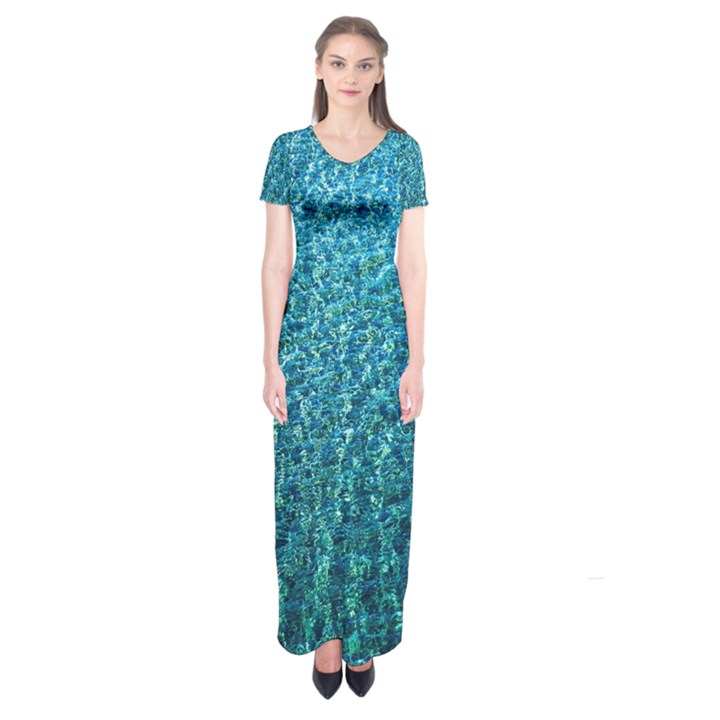 Turquoise Blue Ocean Short Sleeve Maxi Dress