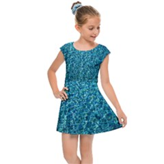 Turquoise Blue Ocean Kids  Cap Sleeve Dress by retrotoomoderndesigns