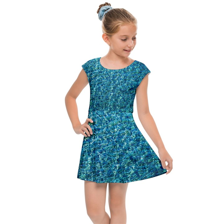 Turquoise Blue Ocean Kids  Cap Sleeve Dress