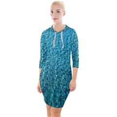 Turquoise Blue Ocean Quarter Sleeve Hood Bodycon Dress