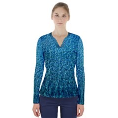 Turquoise Blue Ocean V-Neck Long Sleeve Top
