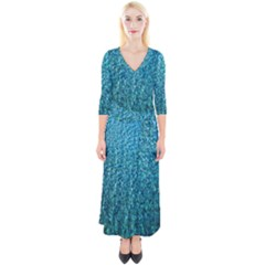 Turquoise Blue Ocean Quarter Sleeve Wrap Maxi Dress