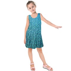 Turquoise Blue Ocean Kids  Sleeveless Dress