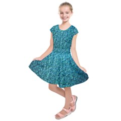 Turquoise Blue Ocean Kids  Short Sleeve Dress