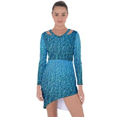 Turquoise Blue Ocean Asymmetric Cut-Out Shift Dress