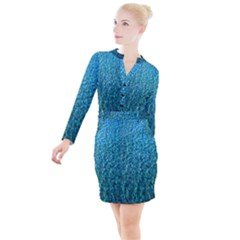 Turquoise Blue Ocean Button Long Sleeve Dress
