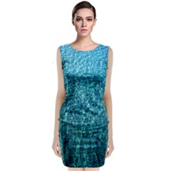 Turquoise Blue Ocean Sleeveless Velvet Midi Dress