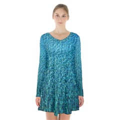 Turquoise Blue Ocean Long Sleeve Velvet V-neck Dress